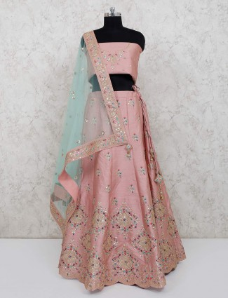 Peach raw silk wedding function semi stitched lehenga choli