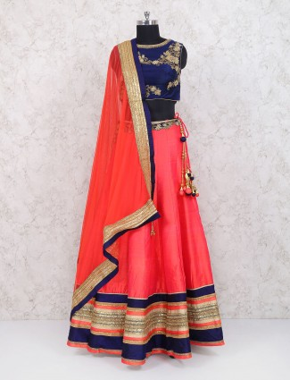 Peach raw silk wedding lehenga choli