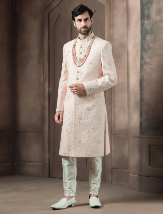 Peach raw silk wedding sherwani for groom