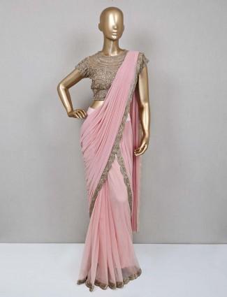 Peach ready to wear saree in lycra net
