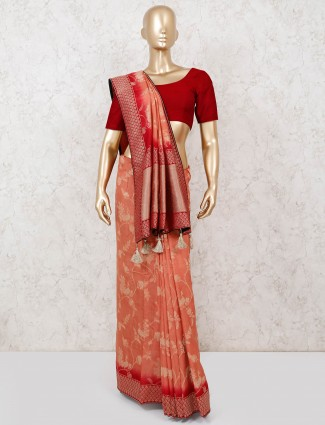 Peach and red dola silk saree for the weddings