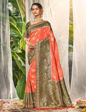 Peach saree for wedding in silk