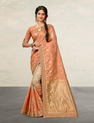 Peach saree in banarasi silk fabric