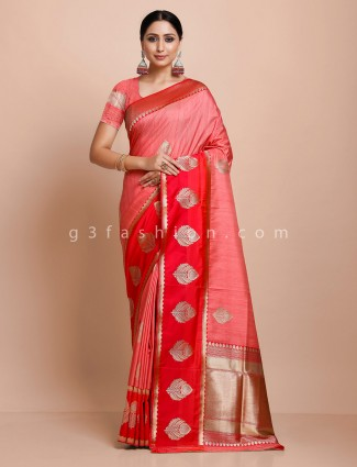 Peach semi silk saree with red border