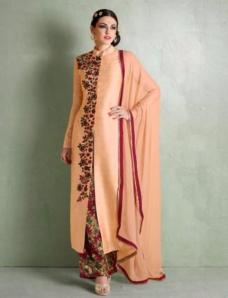 Peach semi stitched party wear bhagalpuri silk salwar suit