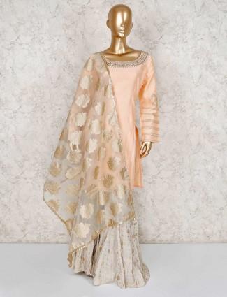 Peach sharara salwar suit in cotton silk