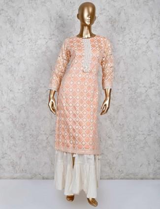 Peach sharara suit in cotton silk