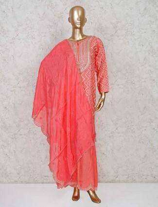 Peach sharara suit set in cotton