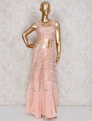 Peach sharara suit with net jacket