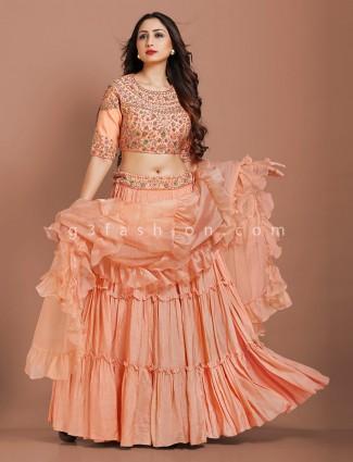 Peach silk designer lehenga choli with ruffle dupatta