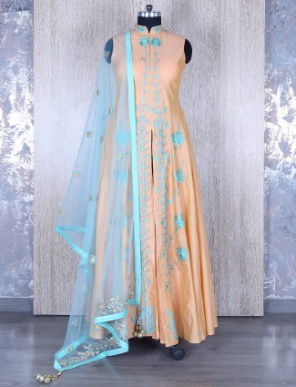 Peach silk party wear anarkali suit
