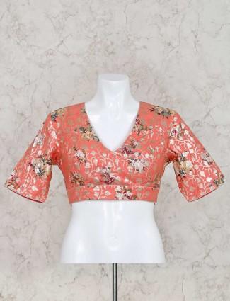 Peach silk printed ready made blouse