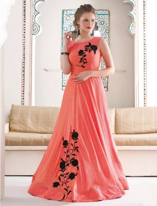 Peach silk stylish gown