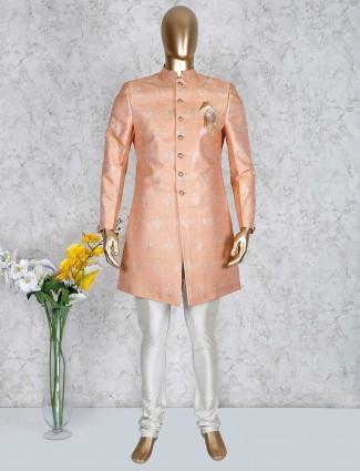 Peach silk wedding function indo western