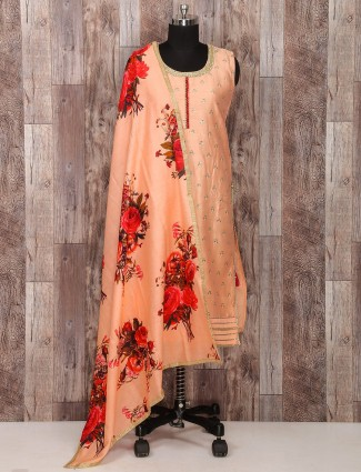 Peach silk wedding salwar suit