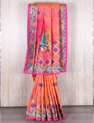 Peach silk wedding saree