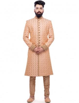 Peach silk wedding wear classy sherwani