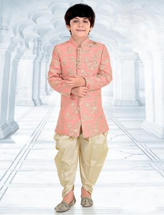 Peach silk wedding wear designer indo western