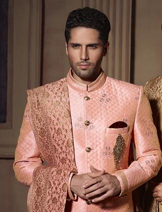 Peach silk wedding wear dressy indo western
