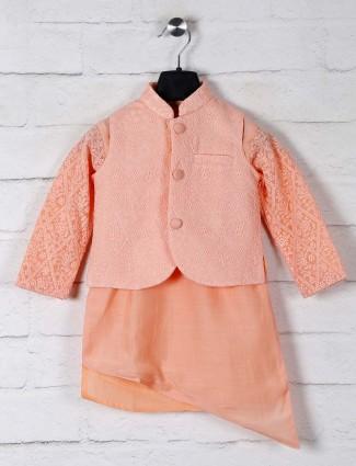 Peach terry rayon festive wear waistcoat set