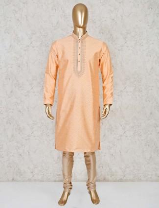 Peach thread weaving kurta suit for festive