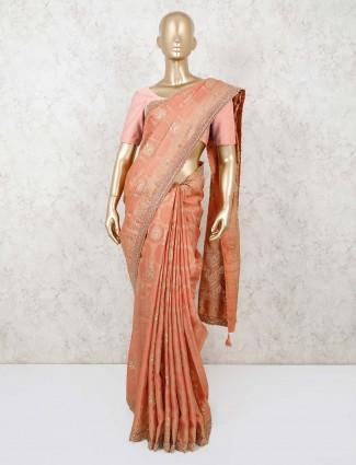 Peach thread weaving pashmina silk saree
