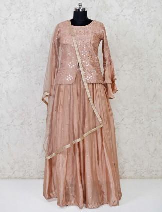 Peach thread woven lehenga suit in raw silk