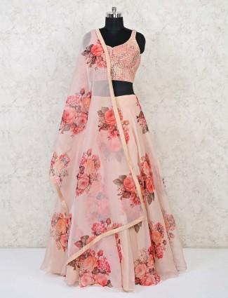 Peach tissue silk party lehenga choli design