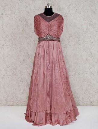 Peach tissue silk wedding wear gown