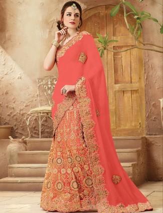Peach viscose half and half bridal wear lehenga saree
