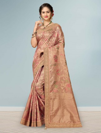 Peach wedding designer banarasi silk saree