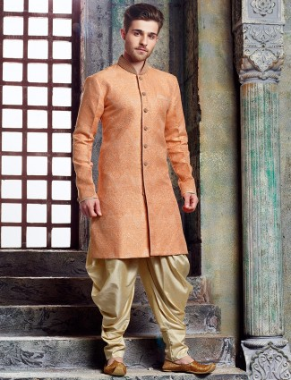 Peach wedding silk kurta suit
