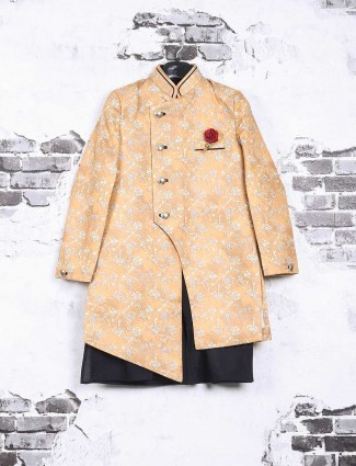Peach wedding wear boys indo western