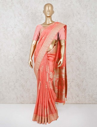 Peach wedding wear dola silk saree