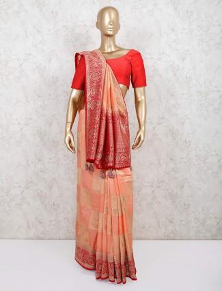 Peach wedding wear muga silk saree
