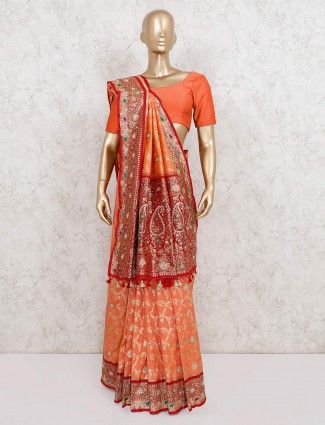 Peach wedding wear pure banarasi silk saree