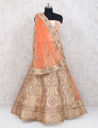 Peach wedding wear semi stitched velvet lehenga choli