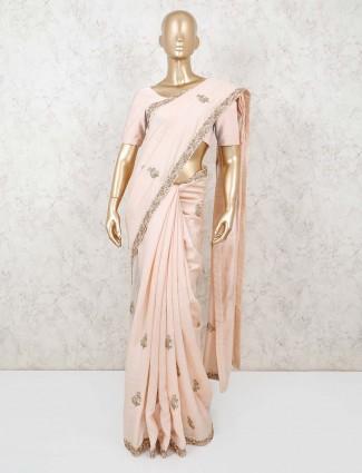 Peach zari motif khadi silk saree for festivals