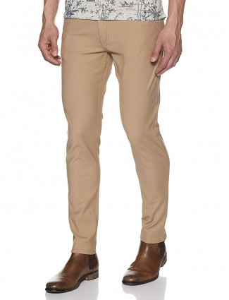Pepe Jeans beige solid mens trouser