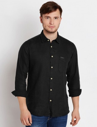 Pepe Jeans black linen solid shirt