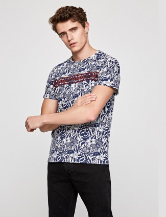 Pepe Jeans blue printed slim fit t-shirt