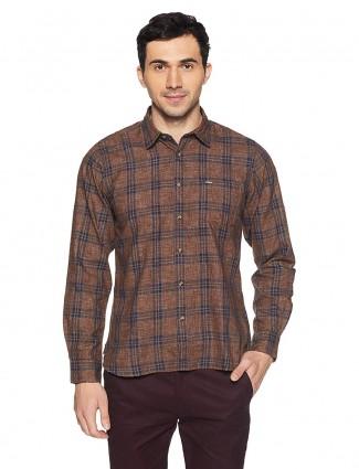 Pepe Jeans brown checks cotton shirt
