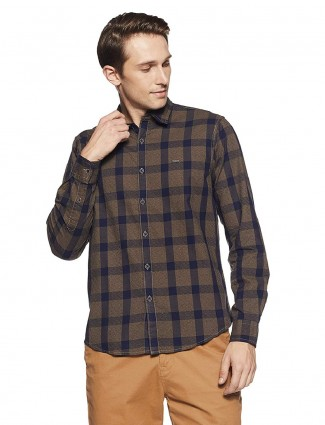 Pepe Jeans brown slim fit cotton shirt