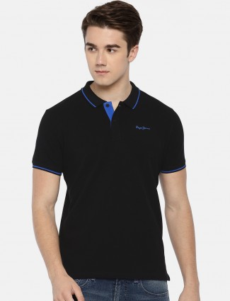 Pepe Jeans casual solid black t-shirt