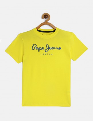 Pepe Jeans cotton yellow printed t-shirt