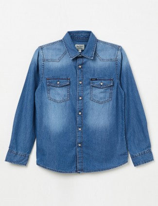 Pepe Jeans denim fabric blue hue shirt