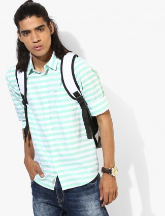 Pepe Jeans green and white stripe shirt