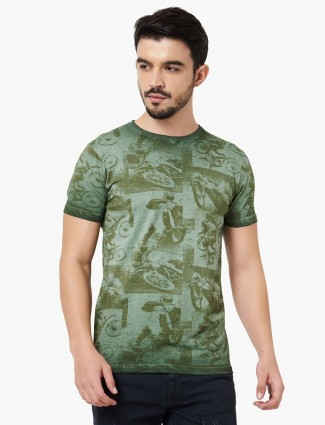 Pepe Jeans green cotton printed t-shirt