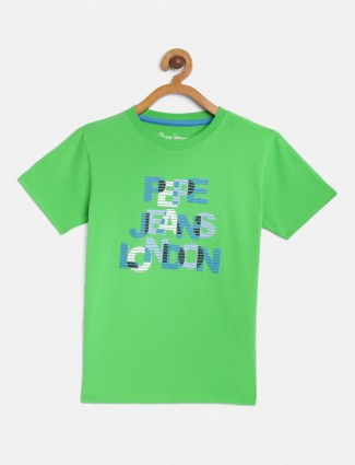 Pepe Jeans green printed round neck t-shirt