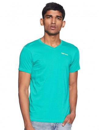Pepe Jeans half sleeves solid aqua t-shirt